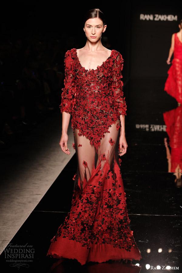 rani zakhem couture fall 2014 look 8 red long sleeve dress sheer skirt