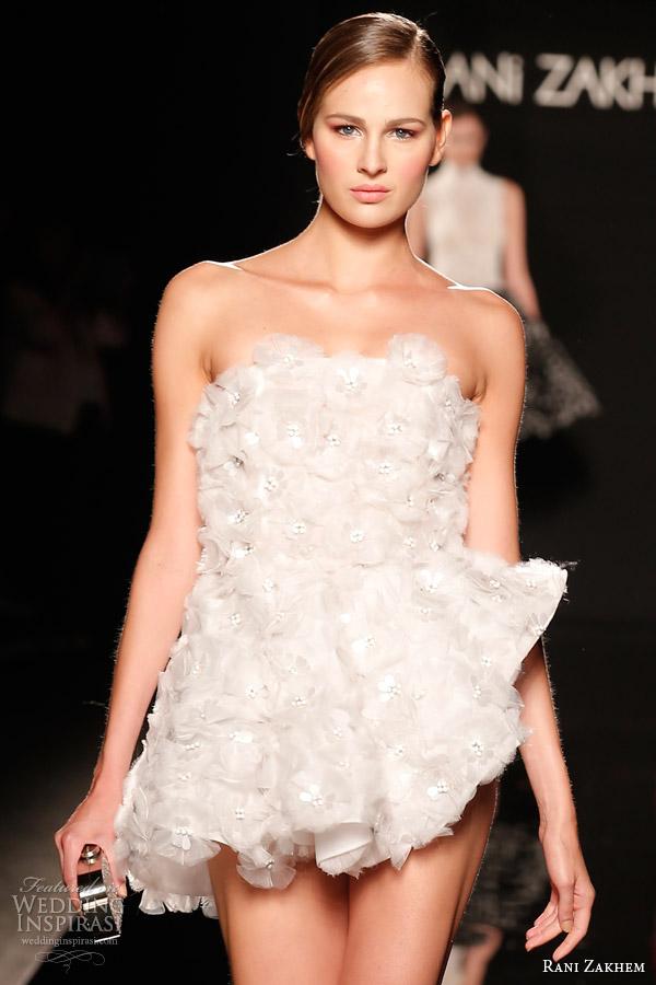 rani zakhem couture fall 2014 look 9 strapless short wedding dress close up