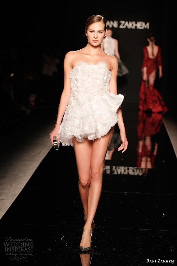 rani zakhem couture fall 2014 look 9 strapless short wedding dress