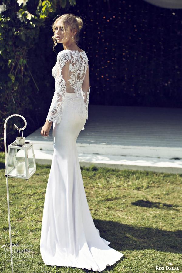 riki dalal 2015 provence illusion long sleeve wedding dress 1505 back view