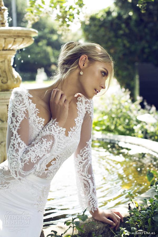 riki dalal 2015 provence illusion long sleeve wedding dress 1505 close up lace bodice