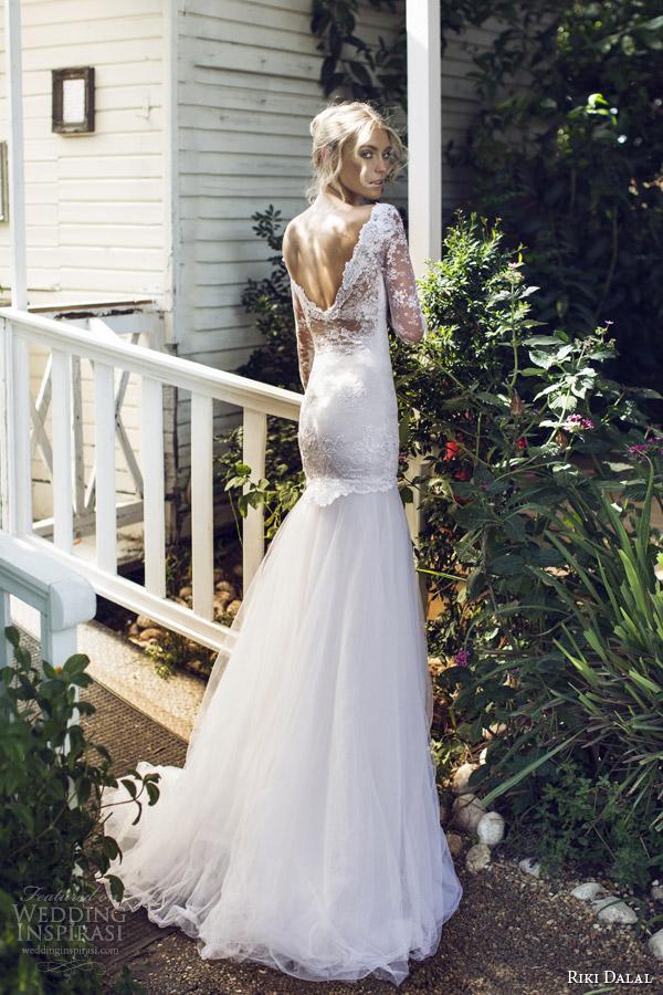 riki dalal 2015 provence long sleeve wedding dress 1503 back view