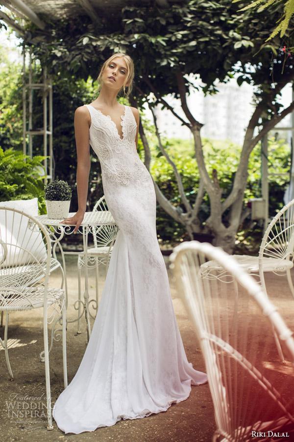 riki dalal 2015 scent of provence sleeveless sheath wedding dress v neck