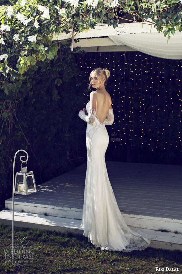 riki dalal bridal 2015 provence illusion long sleeve sheath wedding dress 1507 back view