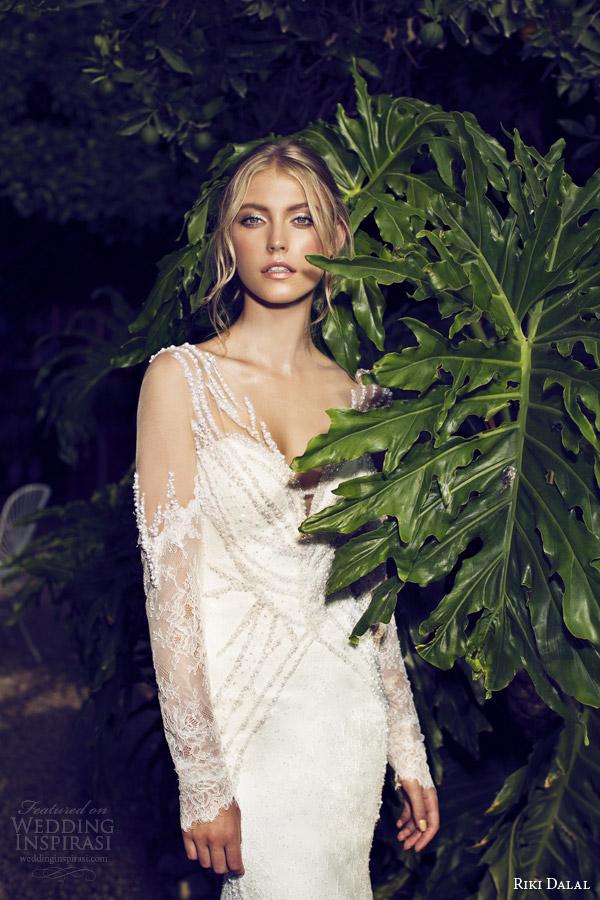 riki dalal bridal 2015 provence illusion long sleeve sheath wedding dress 1507 close up