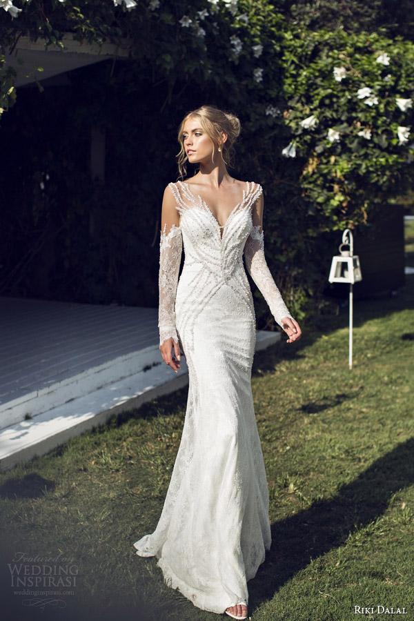 riki dalal bridal 2015 provence illusion long sleeve sheath wedding dress 1507