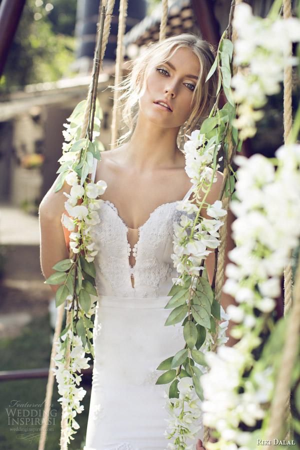 riki dalal bridal 2015 provence sleeveless wedding dress straps 1506 close up