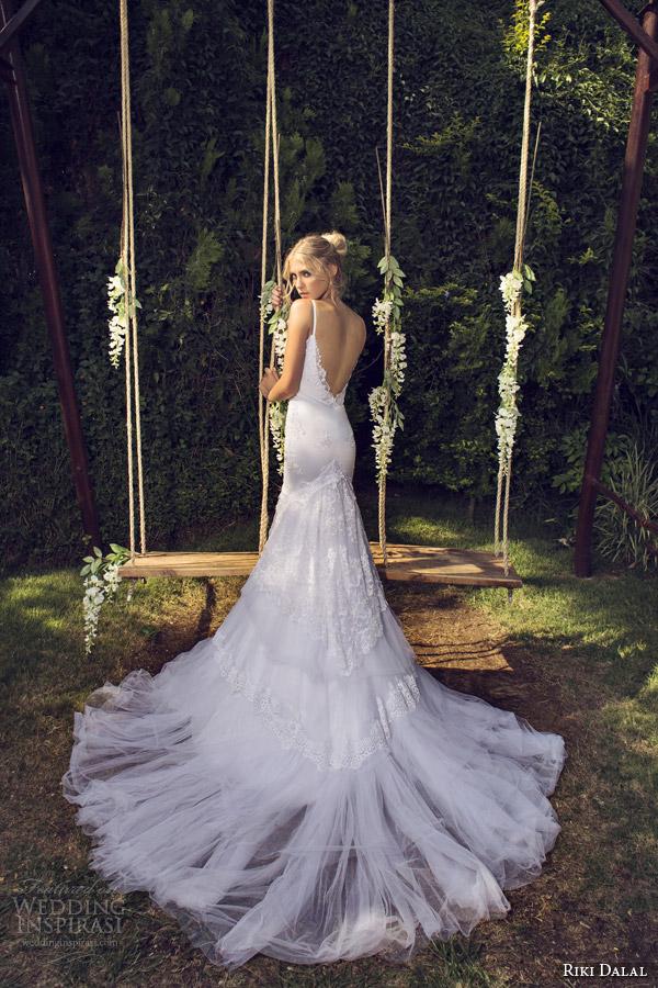 riki dalal bridal 2015 provence sleeveless wedding dress straps back view train 1506
