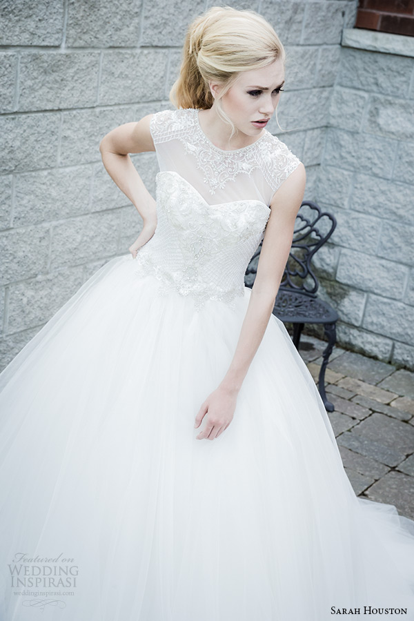 Sarah houston 2015 bridal collection illusion sheer neckline ball gown