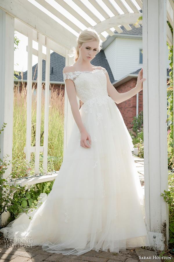 sarah houston 2015 bridal collection off the shoulder strapless a line wedding dress ariel