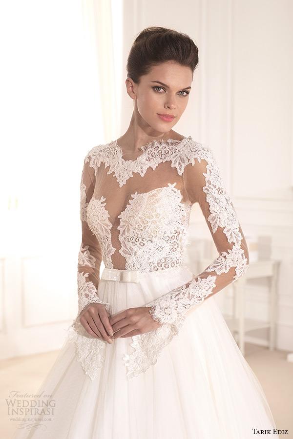 tarik ediz 2014 bridal collection bateau neckline lace illusion a line wedding dress 1 front nilufer