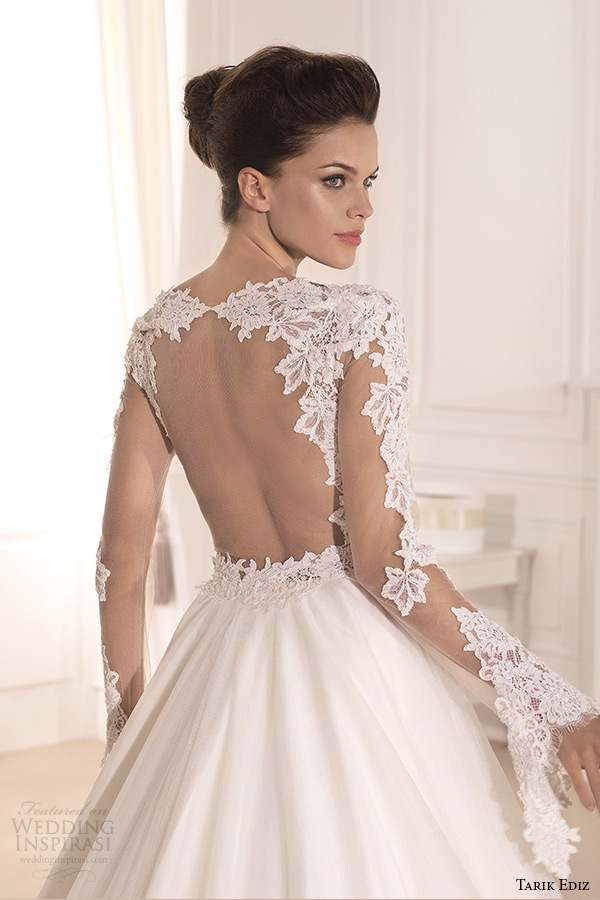 tarik ediz 2014 bridal collection bateau neckline lace illusion a line wedding dress back zoom nilufer