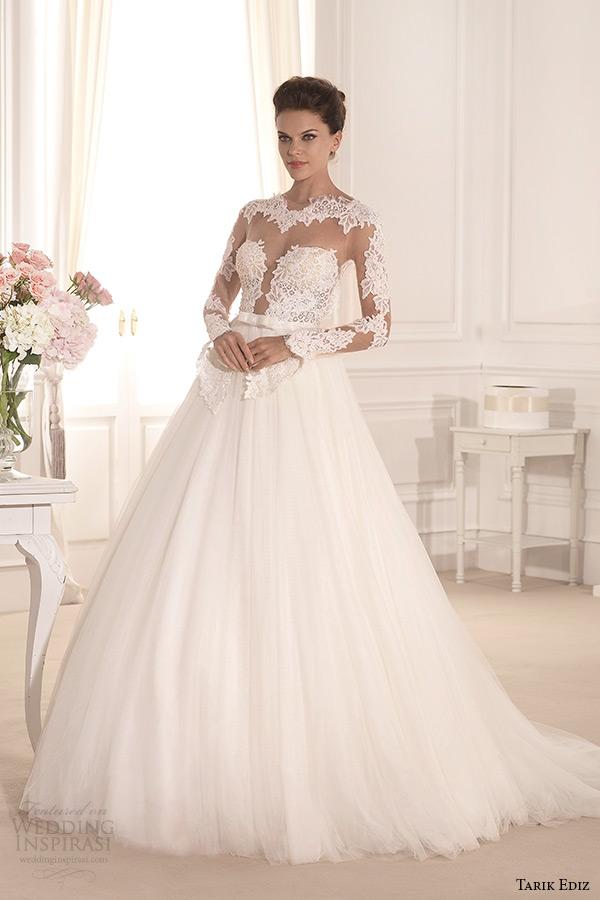 tarik ediz 2014 bridal collection bateau neckline lace illusion a line wedding dress nilufer