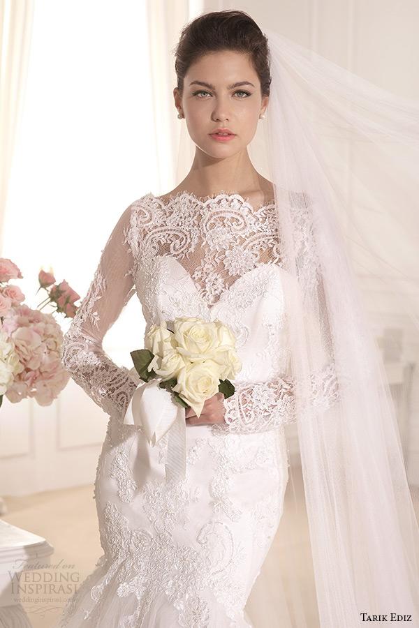tarik ediz 2014 bridal collection boat neckline lace long sleeves mermaid wedding dress 1 front zoom kasimpati