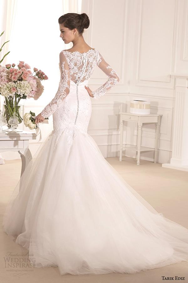 tarik ediz 2014 bridal collection boat neckline lace long sleeves mermaid wedding dress back kasimpati