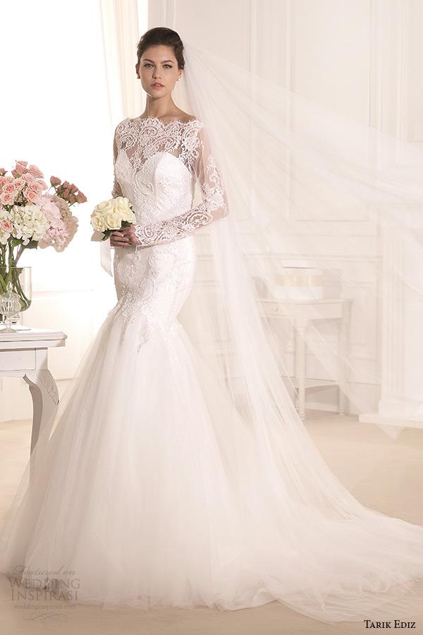 tarik ediz 2014 bridal collection boat neckline lace long sleeves mermaid wedding dress kasimpati