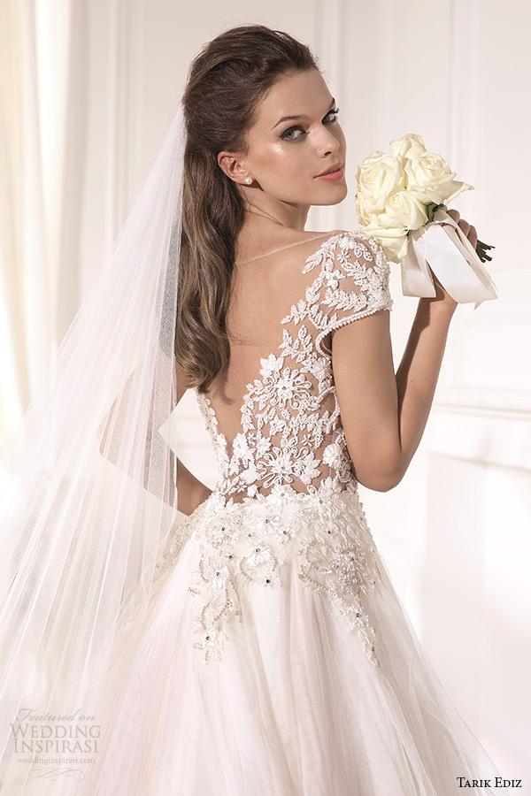tarik ediz 2014 bridal collection cap sleeves illusion neckline sweetheart a line wedding dress back zoom karanfil