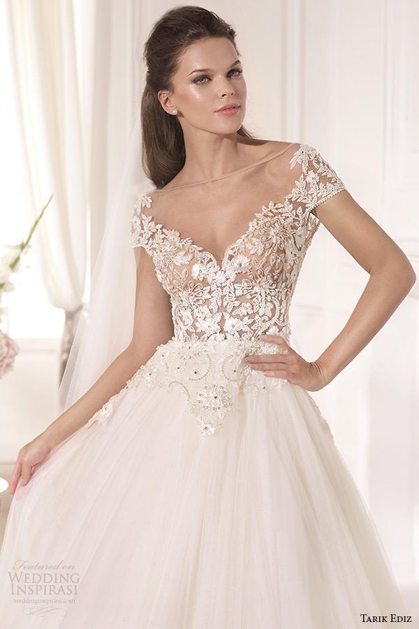 tarik ediz 2014 bridal collection cap sleeves illusion neckline sweetheart a line wedding dress front zoom karanfil