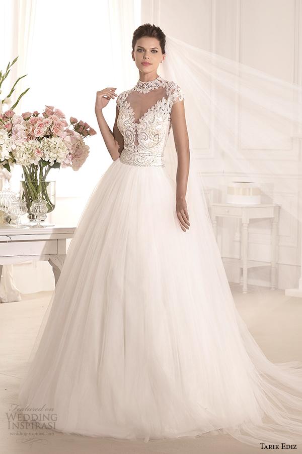 tarik ediz 2014 bridal collection high neck illusion sweetheart a line wedding dress 1 esterado g1138