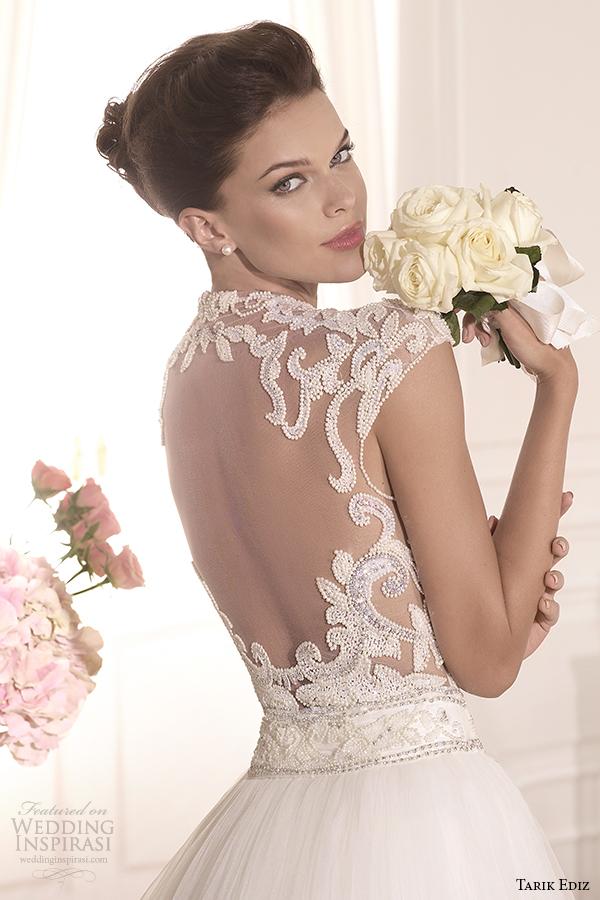 tarik ediz 2014 bridal collection high neck illusion sweetheart a line wedding dress back zoom esterado g1138