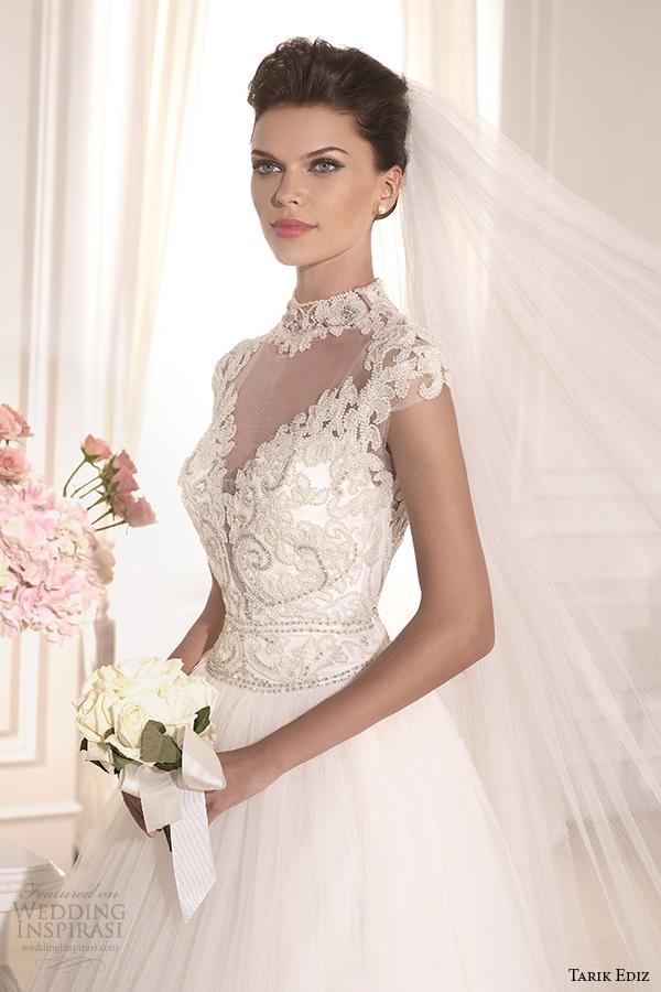 tarik ediz 2014 bridal collection high neck illusion sweetheart a line wedding dress front zoom esterado g1138