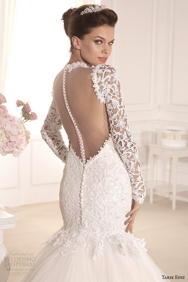tarik ediz 2014 bridal collection high neck long sleeves lace mermaid wedding dress back zoom
