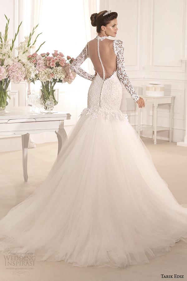 tarik ediz 2014 bridal collection high neck long sleeves lace mermaid wedding dress back