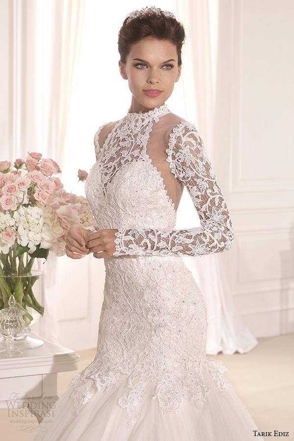 tarik ediz 2014 bridal collection high neck long sleeves lace mermaid wedding dress front zoom