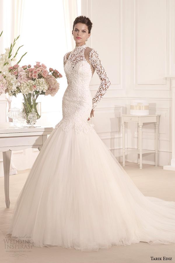 tarik ediz 2014 bridal collection high neck long sleeves lace mermaid wedding dress