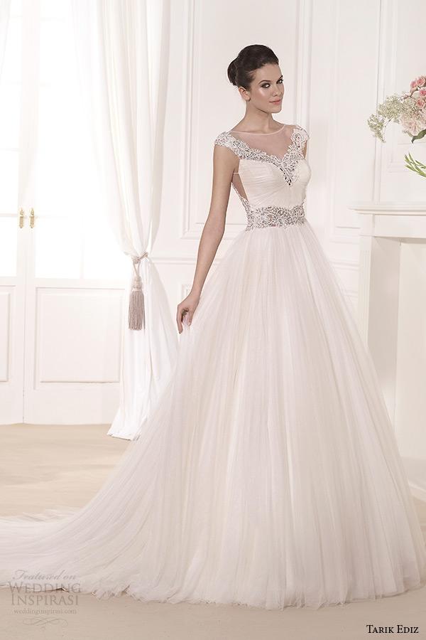 tarik ediz 2014 bridal collection illusion cap sleeves a line wedding dress 1 manolya