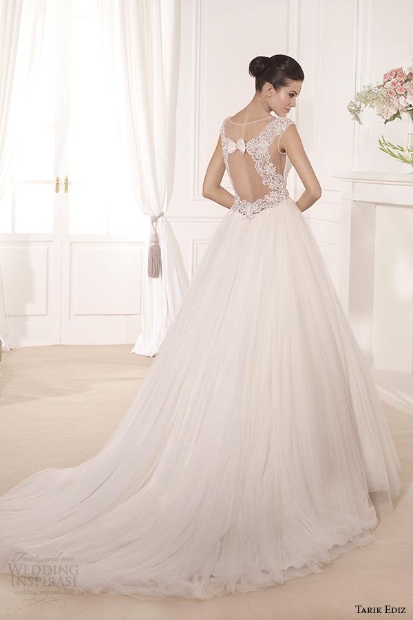 tarik ediz 2014 bridal collection illusion cap sleeves a line wedding dress back manolya