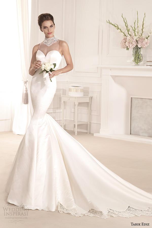 tarik ediz 2014 bridal collection illusion high neck sweetheart trumpet wedding dress 1 menekse