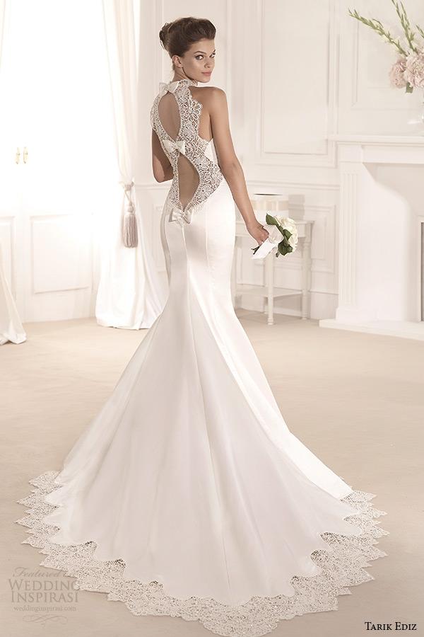 tarik ediz 2014 bridal collection illusion high neck sweetheart trumpet wedding dress back menekse