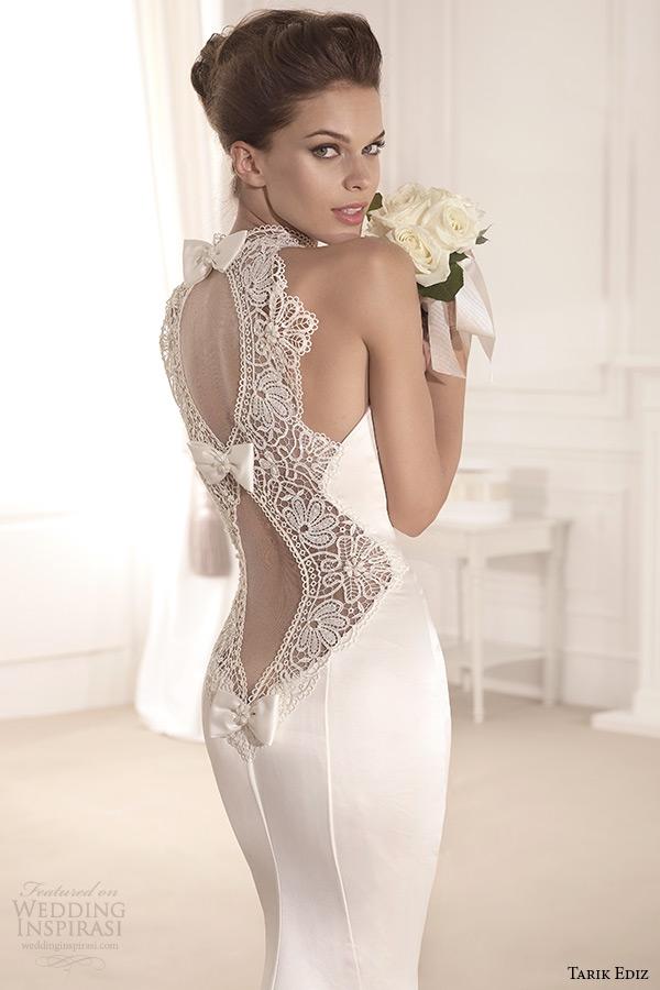tarik ediz 2014 bridal collection illusion high neck sweetheart trumpet wedding dress back zoom menekse