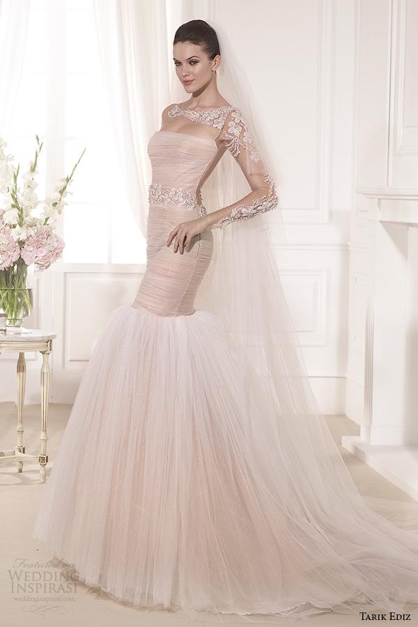 tarik ediz 2014 bridal collection illusion long sleeves blush fit and flare wedding dress 1 lilyum