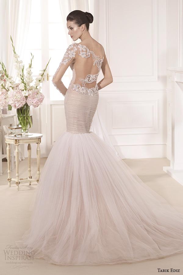 tarik ediz 2014 bridal collection illusion long sleeves blush fit and flare wedding dress back lilyum