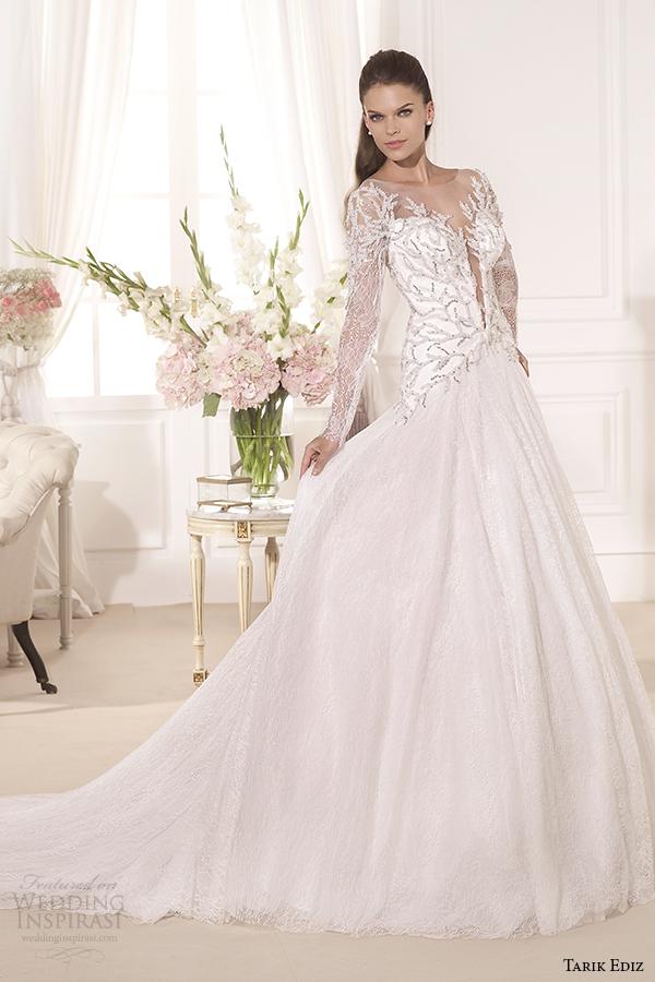 tarik ediz 2014 bridal collection illusion neckline long sleeves a line wedding dress 1 hazan
