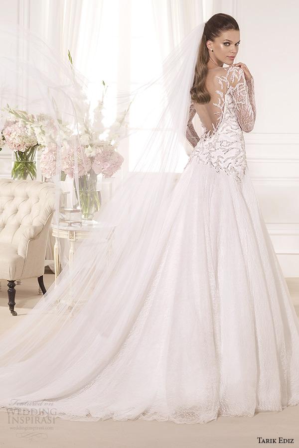 tarik ediz 2014 bridal collection illusion neckline long sleeves a line wedding dress back hazan