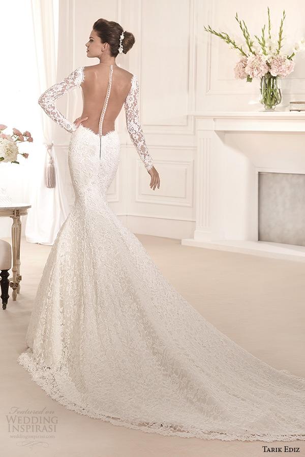 tarik ediz 2014 bridal collection illusion neckline long sleeves mermaid wedding dress back orkide