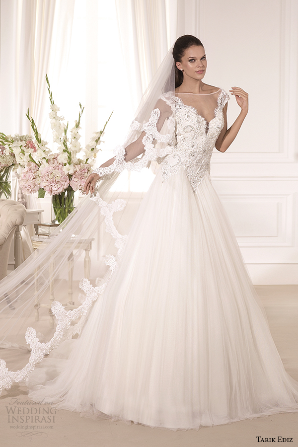 tarik ediz 2014 bridal collection illusion neckline sweetheart a line wedding dress 1 bahar g1134