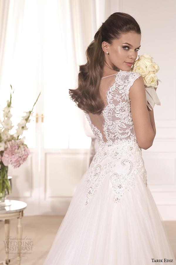tarik ediz 2014 bridal collection illusion neckline sweetheart a line wedding dress back view bahar