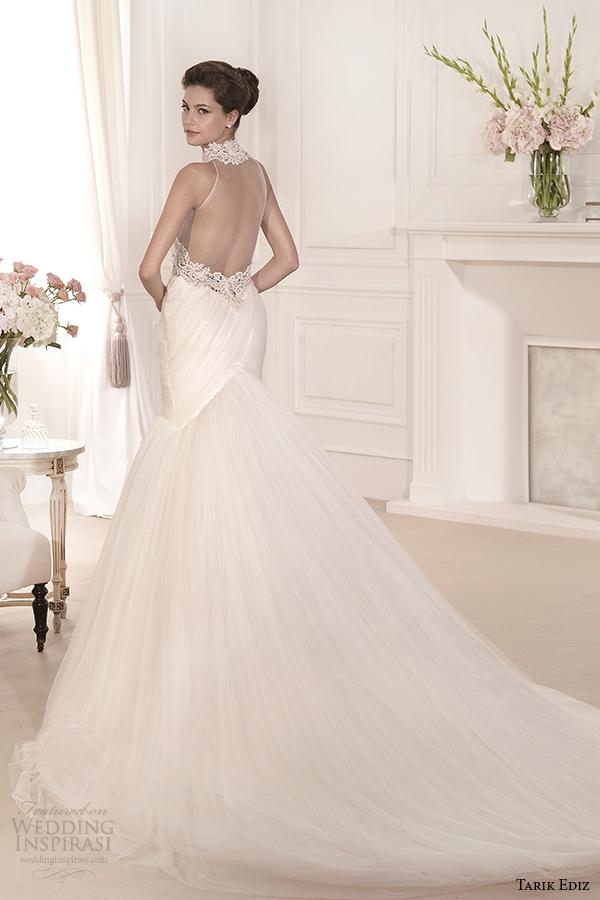 tarik ediz 2014 bridal collection illusion neckline sweetheart fit and flare wedding dress back view begonvil g1106