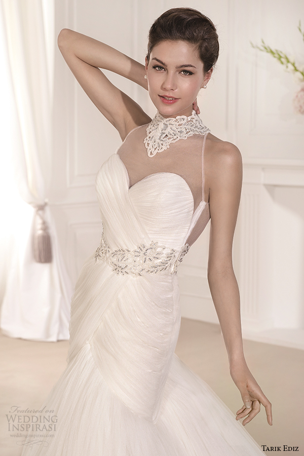 tarik ediz 2014 bridal collection illusion neckline sweetheart fit and flare wedding dress front view zoom begonvil g1106