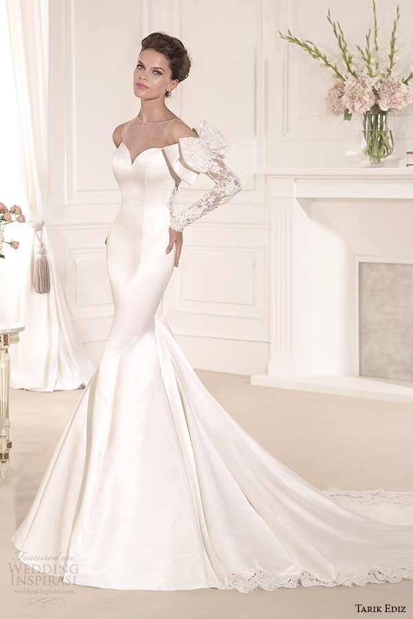 tarik ediz 2014 bridal collection illusion sweetheart long sleeves trumpet wedding dress 1 leylak