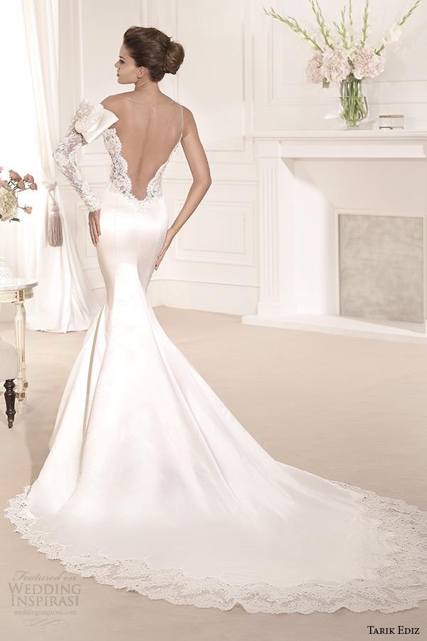 tarik ediz 2014 bridal collection illusion sweetheart long sleeves trumpet wedding dress back leylak
