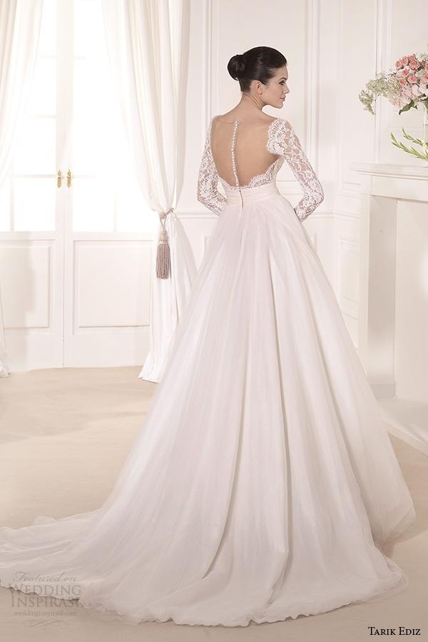 tarik ediz 2014 bridal collection lace bolero long sleeves straight across a line wedding dress back krizantem
