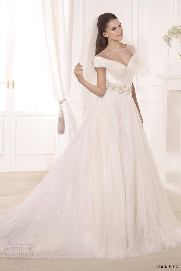 tarik ediz 2014 bridal collection off the shoulder illusion neckline a line wedding dress kamelya