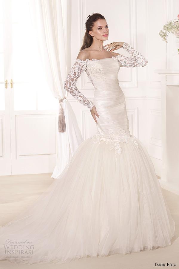 tarik ediz 2014 bridal collection off the shoulder lace long sleeves trumpet wedding dress 1 hercai