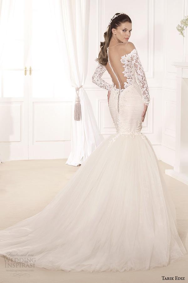 tarik ediz 2014 bridal collection off the shoulder lace long sleeves trumpet wedding dress back hercai
