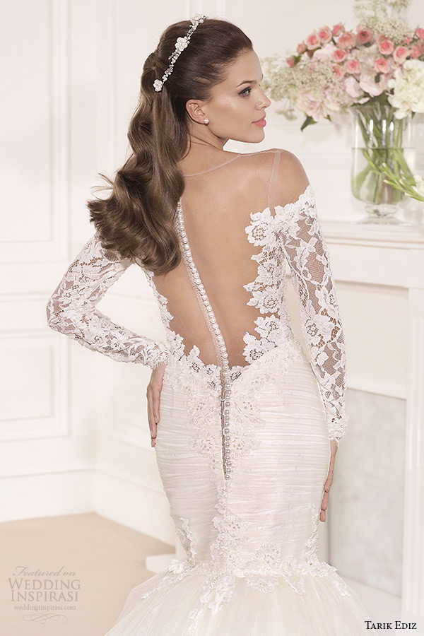 tarik ediz 2014 bridal collection off the shoulder lace long sleeves trumpet wedding dress back zoom hercai